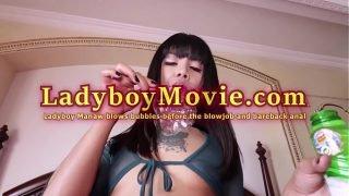 Ladyboy Manaw Blows Bubbles Before Blowjob & Anal