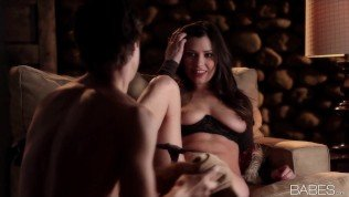 Passionate young brunette girlfriend strips & seduces her BF