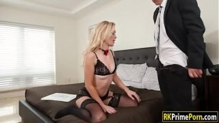 Small tits babe Anastasia fucked in bed