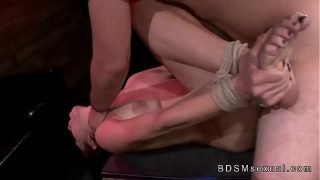 Tied up busty brunette pussy fucked and stomach cummed